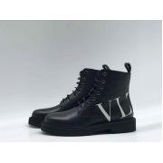 Женские ботинки Valentino (Валентино) кожаные с логотипами на шнурках Black