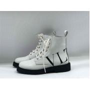 Женские ботинки Valentino (Валентино) кожаные с логотипами на шнурках White