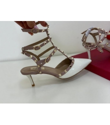 Босоножки женские Valentino (Валентино) летние кожаные на каблуке шпилька средней длины White