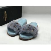 Женские шлепанцы Valentino (Валентино) летние кожаные на меху Blue/Gray