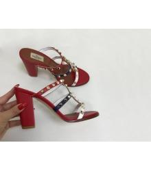 Босоножки женские Valentino (Валентино) летние кожаные на толстом каблуке Red