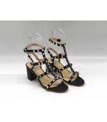 Босоножки женские Valentino (Валентино) летние кожаные на толстом среднем каблуке Black