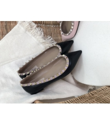 Балетки женские Valentino (Валентино) летние кожаные с шипами Black