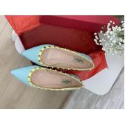Балетки женские Valentino (Валентино) летние кожаные с шипами Blue