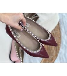 Балетки женские Valentino (Валентино) летние кожаные с шипами Bordo