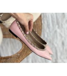 Балетки женские Valentino (Валентино) летние кожаные с шипами Pink