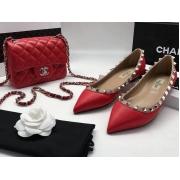 Балетки женские Valentino (Валентино) летние кожаные с шипами Red