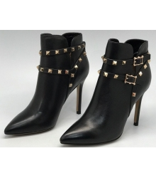 Женские ботильоны Valentino Rockstud (Валентино) кожаные Blac