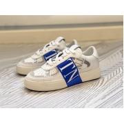 Женские кеды Valentino (Валентино) Rockstud кожаные на шнуровке White/Blue