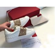 Женские кеды Valentino (Валентино) Rockstud кожаные на шнуровке White/Gold