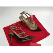 Женские туфли Valentino (Валентино) Rockstud летние кожаные каблук шпилька с открытой пяткой Black