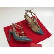 Женские туфли Valentino (Валентино) Rockstud летние кожаные каблук шпилька с открытой пяткой Blue