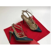 Женские туфли Valentino (Валентино) Rockstud летние кожаные каблук шпилька с открытой пяткой Dark Gray