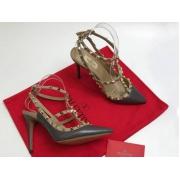 Женские туфли Valentino (Валентино) Rockstud летние кожаные каблук шпилька с открытой пяткой Gray