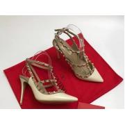 Женские туфли Valentino (Валентино) Rockstud летние кожаные каблук шпилька с открытой пяткой White