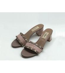 Босоножки женские Valentino (Валентино) Rockstud летние кожаные каблук средней длины Gray