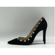 Женские туфли Valentino (Валентино) замшевые на высоком каблуке шпилька Black