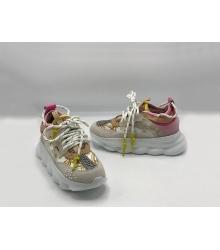 Кроссовки женские Versace (Джанни Версаче) Chain комбинированные на шнурках Gray/Pink