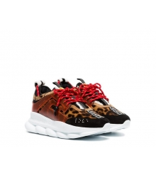 Кроссовки Versace (Джанни Версаче) Chain Reaction комбинированные на шнурках Black/Brown/Red