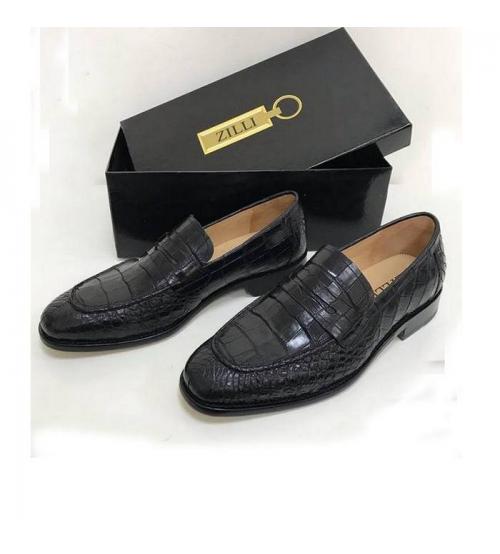 Туфли мужские Zilli (Зилли) натуральная кожа крокодила Black