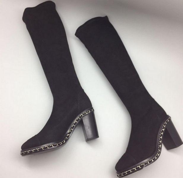 e09921999ff5 Сапоги Chanel (Шанель) Black - 18 550 руб.   Купить брендовую обувь ...