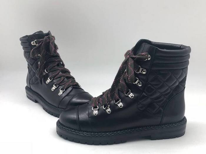 070ef451051f Ботинки женские Chanel (Шанель) кожаные на шнурках Black - 16 850 ...