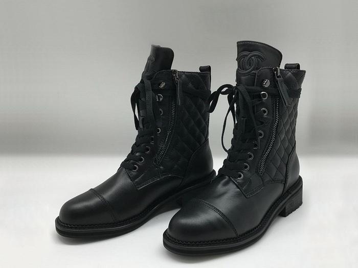 655bd903fb68 Ботинки женские Chanel (Шанель) кожаные на шнурках с молнией Black ...