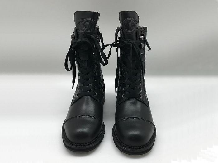 2c0bf6a6826b ... Ботинки женские Chanel (Шанель) кожаные на шнурках с молнией Black ...