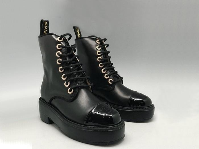ab07fb44554d Женские ботинки Chanel (Шанель) осенние высокие кожаные на танкетке на шнурках  Black