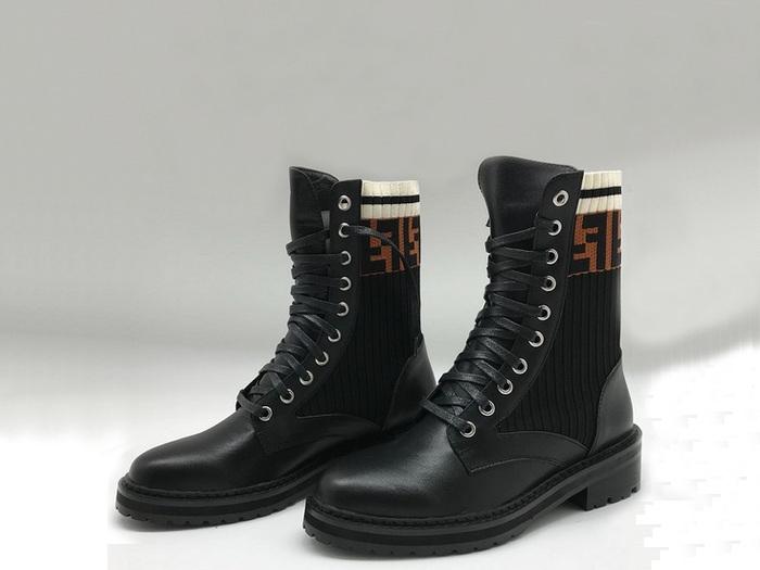 16b355c610f0 Ботинки женские Fendi (Фенди) осенние кожаные на шнуровке Black - 14 ...