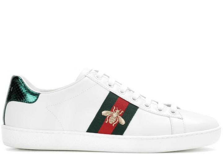 7d37efd7d9d3 Кроссовки женские Gucci (Гуччи) Ace кожаные c пчелой White Green Red ...
