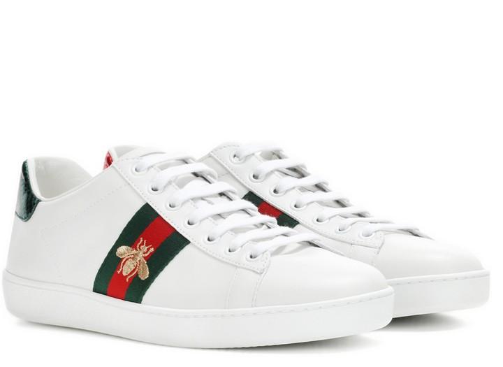 efe253db Кроссовки женские Gucci (Гуччи) Ace кожаные c пчелой White/Green/Red ...