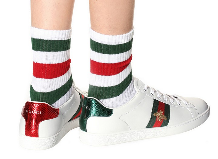 725e47ad63a0 Кроссовки женские Gucci (Гуччи) Ace кожаные c пчелой White Green Red ...