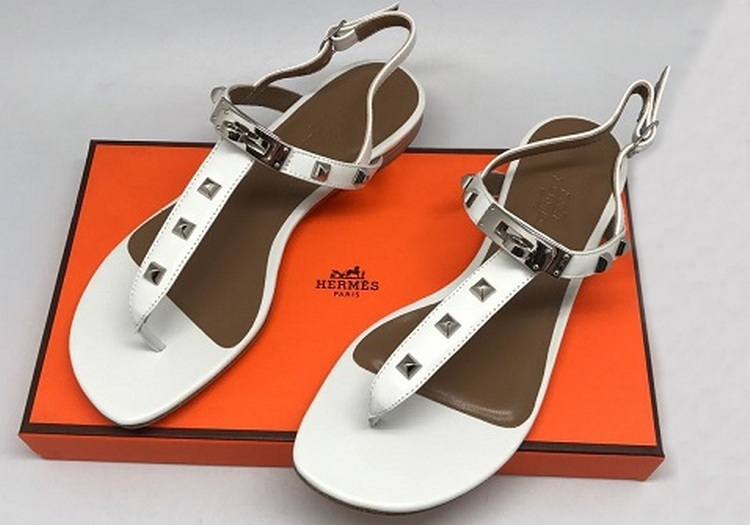 Женские сандалии Hermes (Гермес) Кожаные White - 13 550 руб ... 6ee7127da66