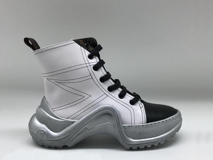 Женские ботинки Louis Vuitton (Луи Виттон) Archlight кожаные на шнурках  White 06fd42ae8be