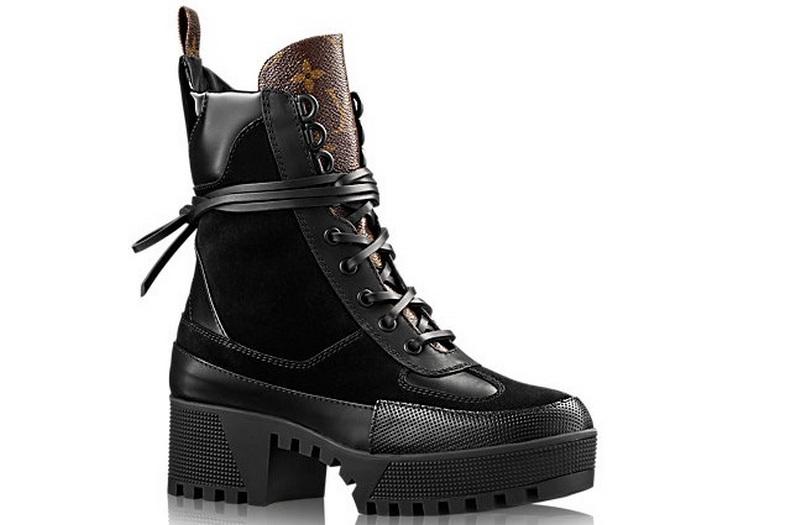 Ботинки женские Louis Vuitton (Луи Виттон) осенние кожаные на платформе  Black Brown 7c43c9aec1f