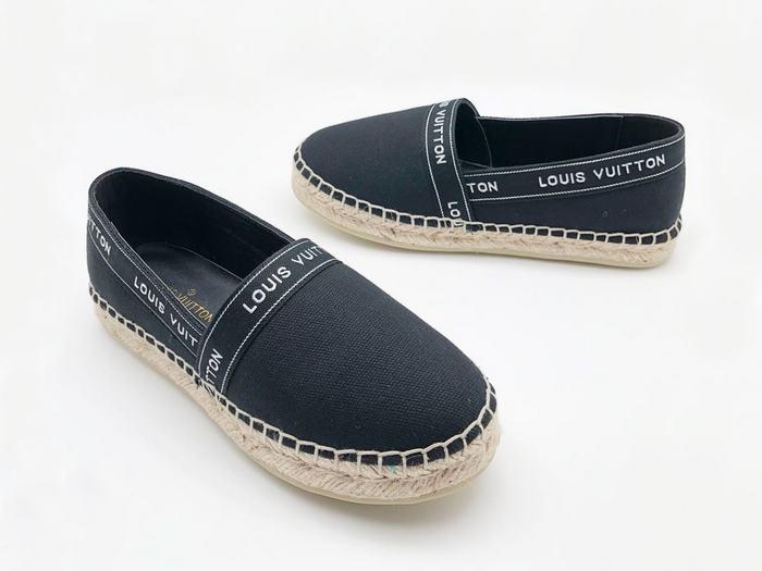 ed22d2eb37f9 Эспадрильи женские Louis Vuitton (Луи Виттон) кожа текстиль Black ...