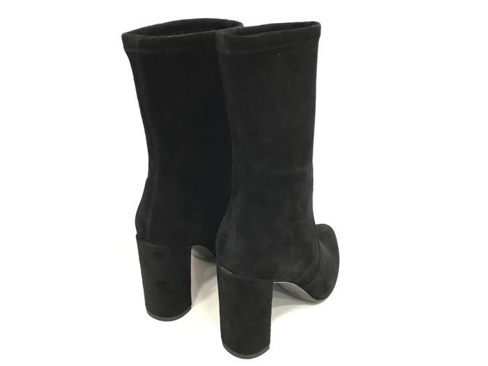 be888ca2e9a4 Полусапоги женские Stuart Weitzman (Стюарт Вайтцман) замшевые осенние на  толстом каблуке Black