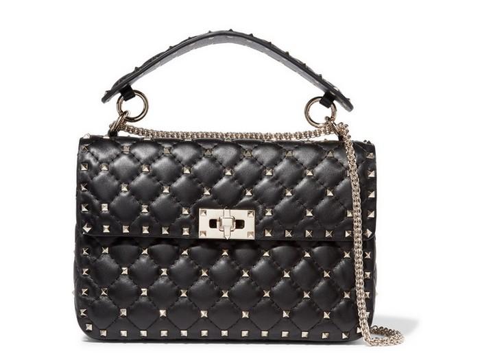b387bb3a19e2 Женская сумка Valentino Garavani (Валентино Гаравани) Rockstud Spike  кожаная через плечо Black